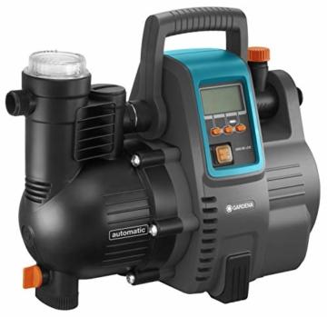 Gardena Comfort Hauswasserautomat 5000/5E LCD: Hauswasserpumpe mit LC-Display, energiesparend, Fördermenge 5000 l/h, 1300W Motor mit Thermoschutzschalter, Trockenlaufsicherung (1759-20) - 5