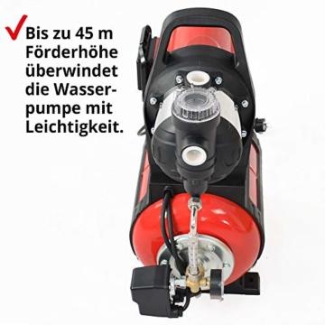 Hecht Hauswasserwerk 1100 Watt – Wasserpumpe – max. 8 m selbstansaugend – max. 4,5 bar Förderdruck – 4600 l/h Förderleistung – 24 Liter Druckkessel – Abschaltautomatik – Filter – leise – langlebig - 2