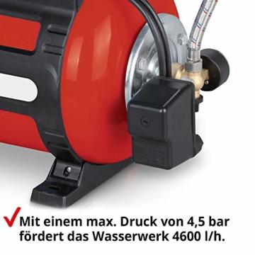 Hecht Hauswasserwerk 1100 Watt – Wasserpumpe – max. 8 m selbstansaugend – max. 4,5 bar Förderdruck – 4600 l/h Förderleistung – 24 Liter Druckkessel – Abschaltautomatik – Filter – leise – langlebig - 6