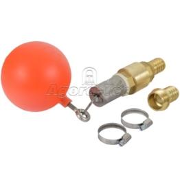 Agora-Tec® Ansaug-Set 1 Zoll bestehend aus (Schwimmerkugel, Saugkorb, Ringschraube und Schlüsselring aus Edelstahl + Messing Rückschlagventil + 2 Stück Schlauchschelle Edelstahl W4 für Schlauch- Ø von 25 - 40mm für 1 Zoll Schlauch + 2 Stück Messing Schlauchtüllen 1 Zoll (33,3 mm) Außengewinde) - 1