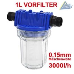 Filter Vorfilter Pumpenfilter für Hauswasserwerk Kreiselpumpe Jetpumpe Brunnenpumpe Pumpe Tauchpumpen bei Waschmaschinen, Schaltgeräten, Kreiselpumpen (Vorfilter 1L) - 1