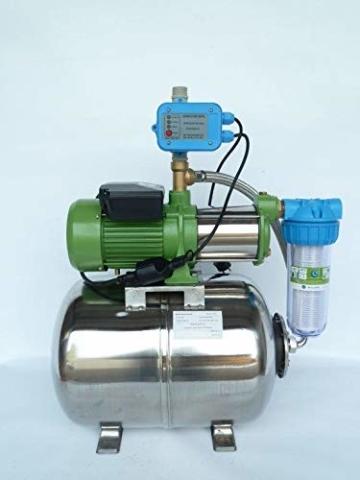 Hauswasserwerk Edelstahl/INOX 100 Liter + Vorfilter mit Kreiselpumpe HMC-170 1500 Watt INOX 10200l/h - 170l/h - Förderh.: 65m, Druck 5,5bar + Pumpensteuerung PS-01 Trockenlaufschutz. - 2