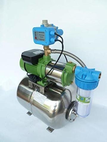 Hauswasserwerk Edelstahl/INOX 100 Liter + Vorfilter mit Kreiselpumpe HMC-170 1500 Watt INOX 10200l/h - 170l/h - Förderh.: 65m, Druck 5,5bar + Pumpensteuerung PS-01 Trockenlaufschutz. - 1