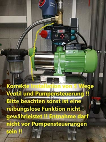Hauswasserwerk Edelstahl/INOX 100 Liter + Vorfilter mit Kreiselpumpe HMC-170 1500 Watt INOX 10200l/h - 170l/h - Förderh.: 65m, Druck 5,5bar + Pumpensteuerung PS-01 Trockenlaufschutz. - 8