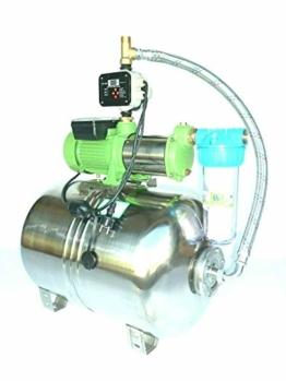 Premium Hauswasserwerk Edelstahl/INOX 100 Liter + Vorfilter mit Kreiselpumpe HMC-170 1500 Watt INOX 10800l/h - 180l/h - Förderh.: 65m, Druck 5,5bar + digitale Pumpensteuerung CH18A Trockenlaufschutz. - 1
